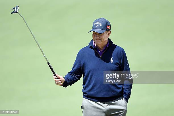Tom Watson of the United States stands on the second green during the second round of the 2016 Masters Tournament at Augusta National Golf Club on...