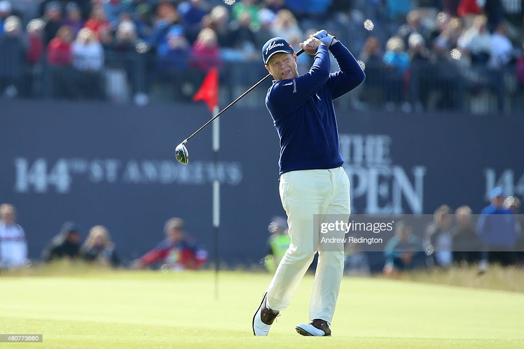 Tom Watson of the United States tees off on the 18th during the Champion Golfers' Challenge ahead of the 144th Open Championship at The Old Course on July 15, 2015 in St Andrews, Scotland.