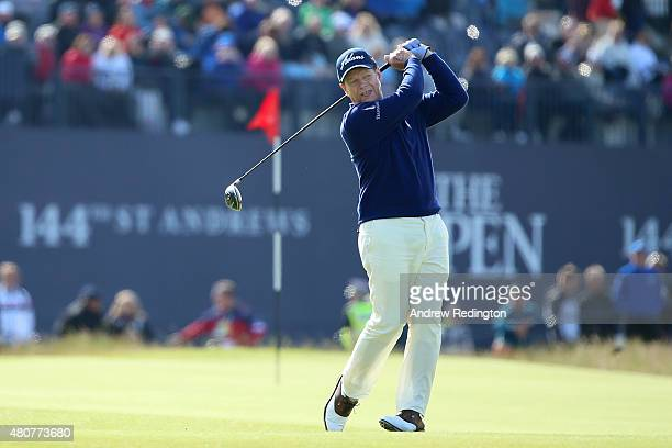Tom Watson of the United States tees off on the 18th during the Champion Golfers' Challenge ahead of the 144th Open Championship at The Old Course on...