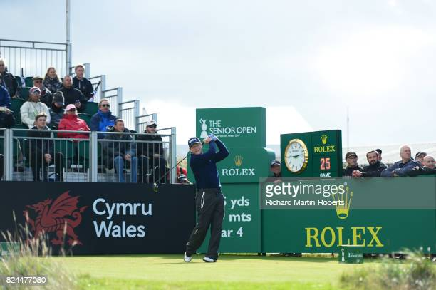Tom Watson of the United States tees off on the 1st hole during the final round of the Senior Open Championship presented by Rolex at Royal Porthcawl...