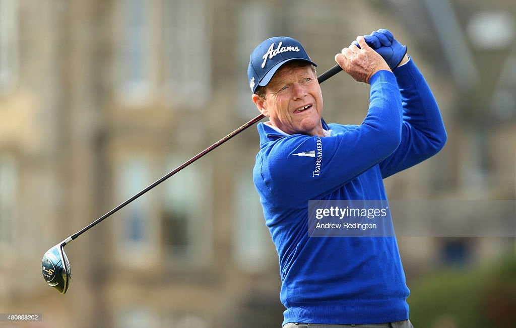 Tom Watson of the United States tees off on the 2nd hole during the first round of the 144th Open Championship at The Old Course on July 16, 2015 in St Andrews, Scotland.
