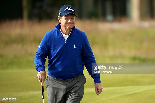 Tom Watson of the United States walks on the 2nd green during the first round of the 144th Open Championship at The Old Course on July 16 2015 in St...