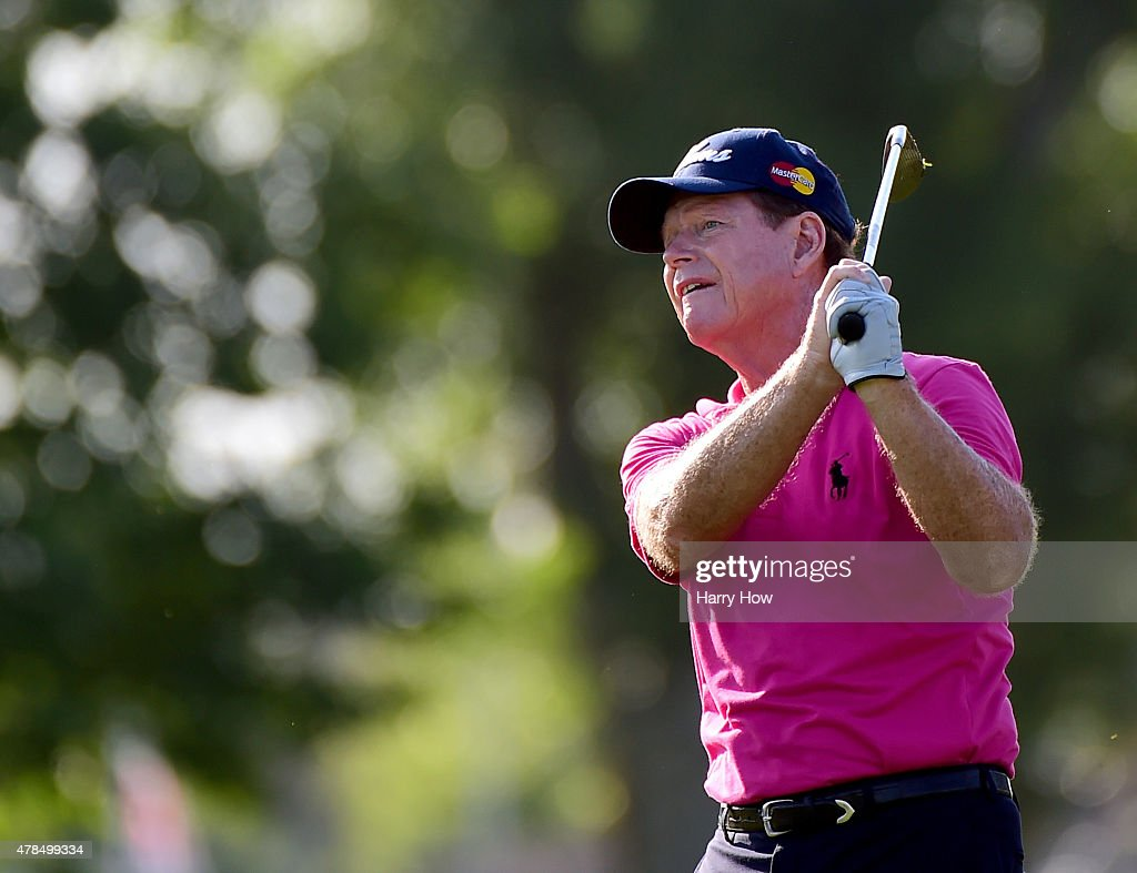 Tom Watson of the United States watches his second shot on the 10th fairway during round one of the U.S. Senior Open Championship at the Del Paso Country Club on June 25, 2015 in Sacramento, California.