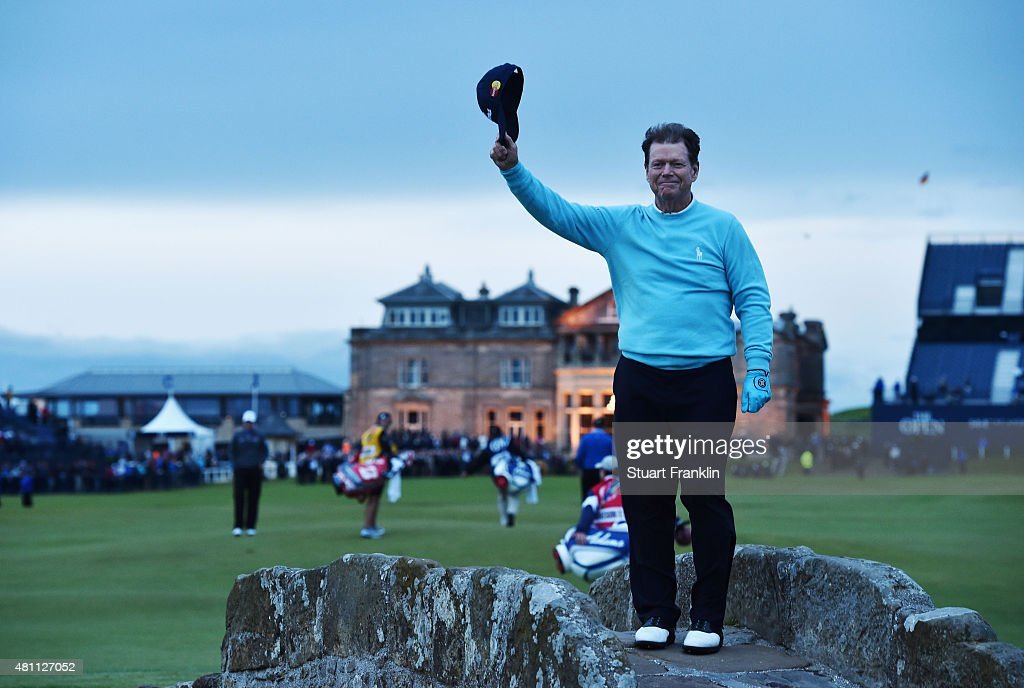 Tom Watson of the United States waves to the crowd from Swilcan Bridge in honor of his final Open Championship appearance during the second round of...