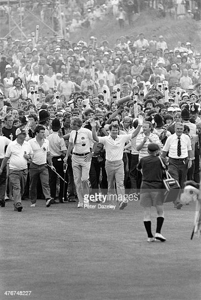 Tom Watson of the USA bursts through the huge crowds on the final hole during the 112th Open Championship played at Royal Birkdale Golf Club on July...