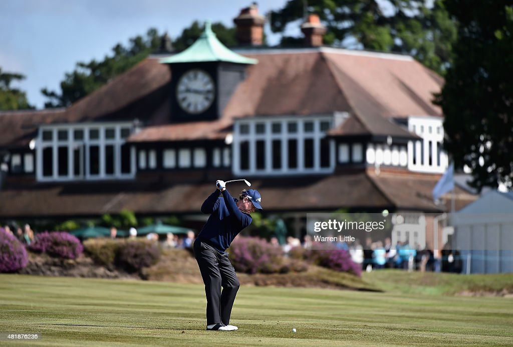 Tom Watson of the USA plays his second shot into he 18th green during completion of the second round of The Senior Open Championship on the Old Course at Sunningdale Golf Club on July 25, 2015 in Sunningdale, England.
