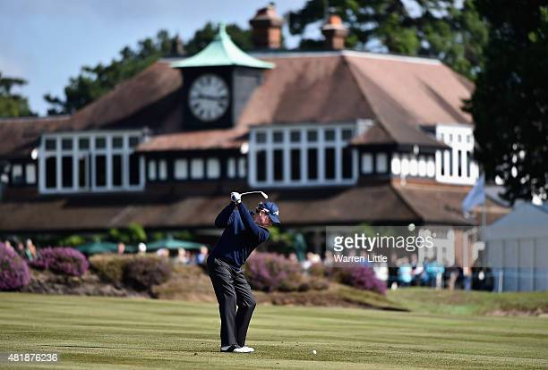 Tom Watson of the USA plays his second shot into he 18th green during completion of the second round of The Senior Open Championship on the Old...
