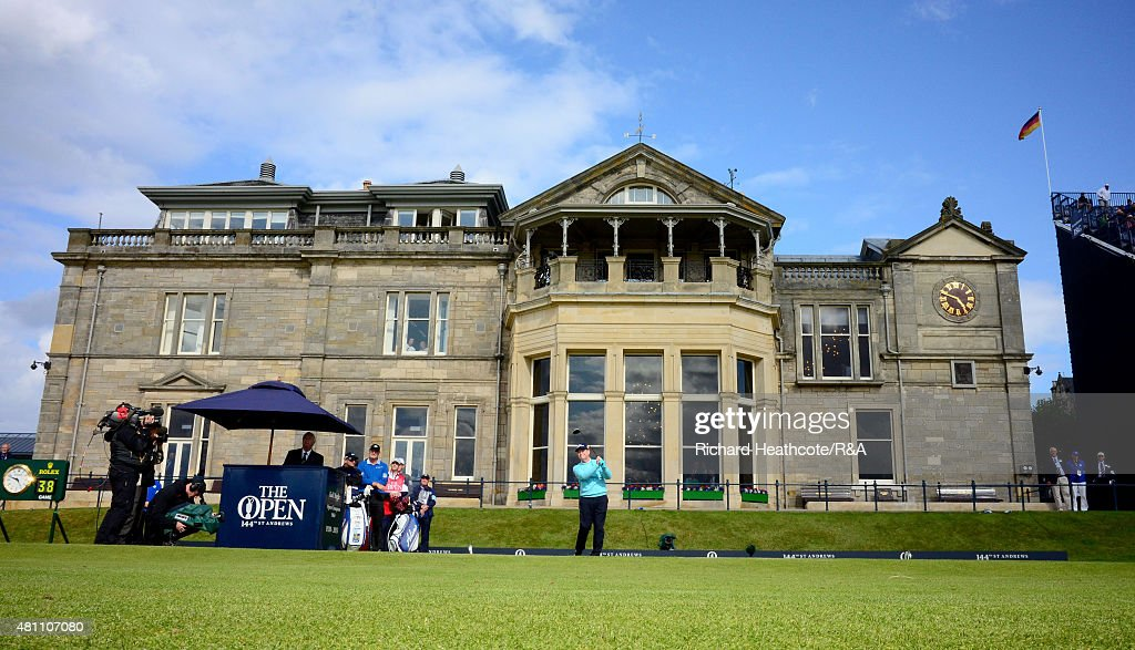<a gi-track='captionPersonalityLinkClicked' href=/galleries/search?phrase=Tom+Watson+-+Golf&family=editorial&specificpeople=12597942 ng-click='$event.stopPropagation()'>Tom Watson</a> of the USA tee's off at the first during the second round of the 144th Open Championship at The Old Course on July 17, 2015 in St Andrews, Scotland.