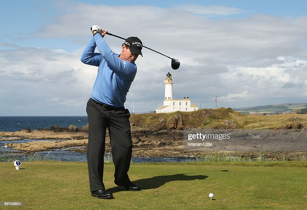 Tom Watson of USA tees off on the 9th hole during the final round of the 138th Open Championship on the Ailsa Course Turnberry Golf Club on July 19...
