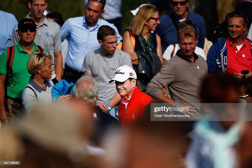 Tom Watson of USA walks towards the 10th hole tee between the fans during Day 2 of the KLM Open held at Kennemer G & CC on September 11, 2015 in Zandvoort, Netherlands.