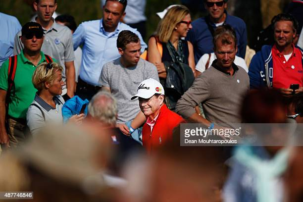 Tom Watson of USA walks towards the 10th hole tee between the fans during Day 2 of the KLM Open held at Kennemer G CC on September 11 2015 in...