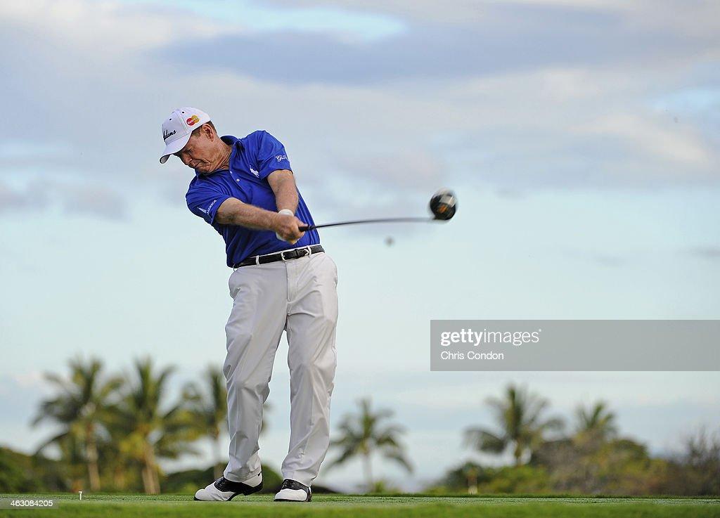 KA'UPULEHU-KONA, HI - JANUARY 16: Tom Watson plays a shot during the Thursday Pro Am at the Mitsubishi Electric Championship at Hualalai Golf Club on January 16, 2014 in Ka'upulehu-Kona, Hawaii.