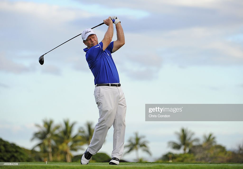 Tom Watson plays a shot during the Thursday Pro Am at the Mitsubishi Electric Championship at Hualalai Golf Club on January 16, 2014 in Ka'upulehu-Kona, Hawaii.