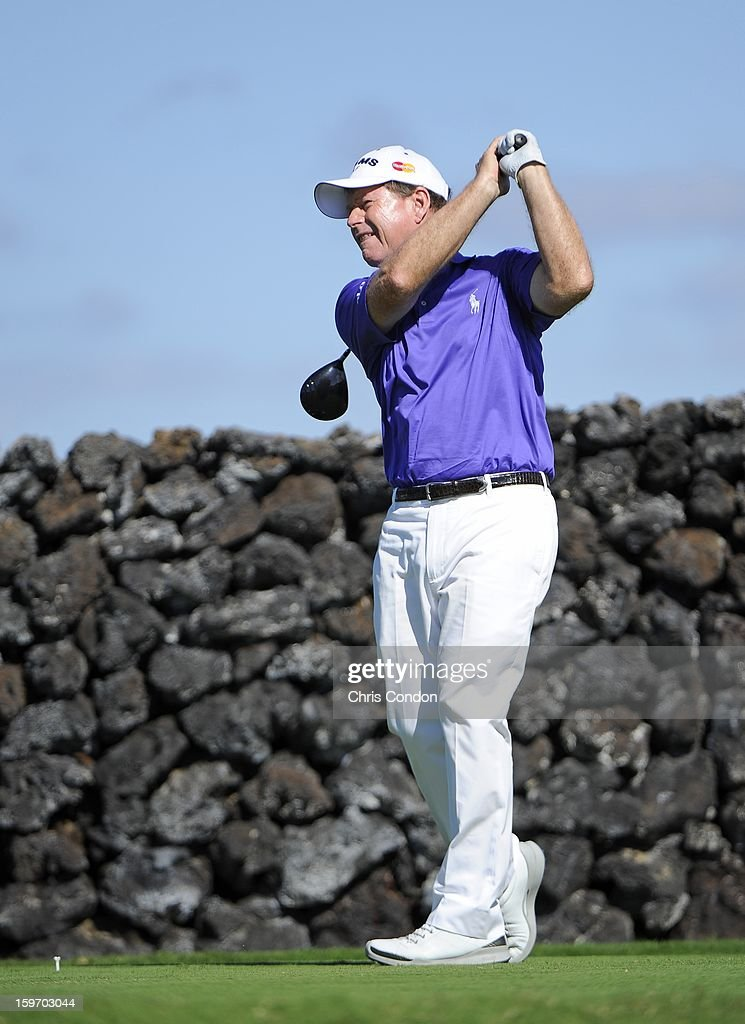 KA'UPULEHU-KONA, HI - JANUARY 18: Tom Watson plays from the ninth tee during the first round of the Mitsubishi Electric Championship at Hualalai Golf Club on January 18, 2013 in Ka'upulehu-Kona, Hawaii.