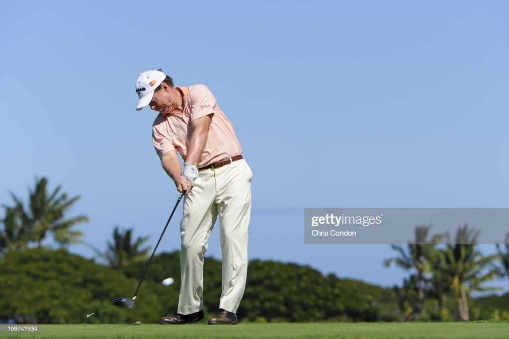 KA'UPULEHU-KONA, HI - JANUARY 19: Tom Watson plays from the second tee during the second round of the Mitsubishi Electric Championship at Hualalai Golf Club on January 19, 2013 in Ka'upulehu-Kona, Hawaii.