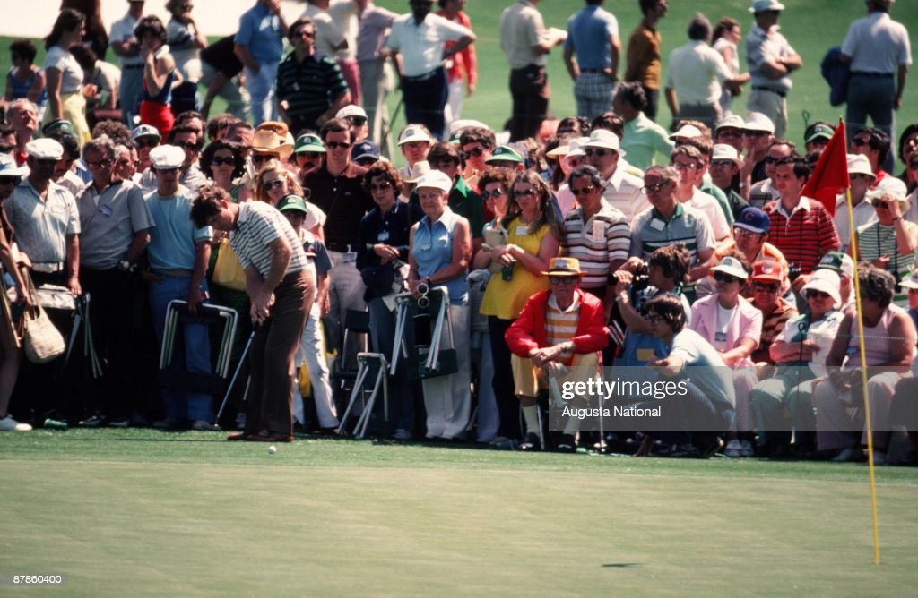 Tom Watson putts in front of a large gallery during the 1979 Masters Tournament at Augusta National Golf Club on April 15th, 1979 in Augusta, Georgia.
