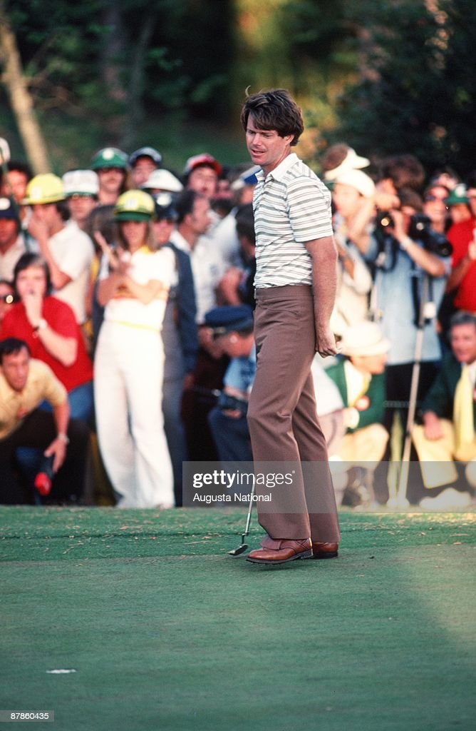Tom Watson sinks his putt in front of a large gallery during the 1979 Masters Tournament at Augusta National Golf Club on April 15th, 1979 in Augusta, Georgia.