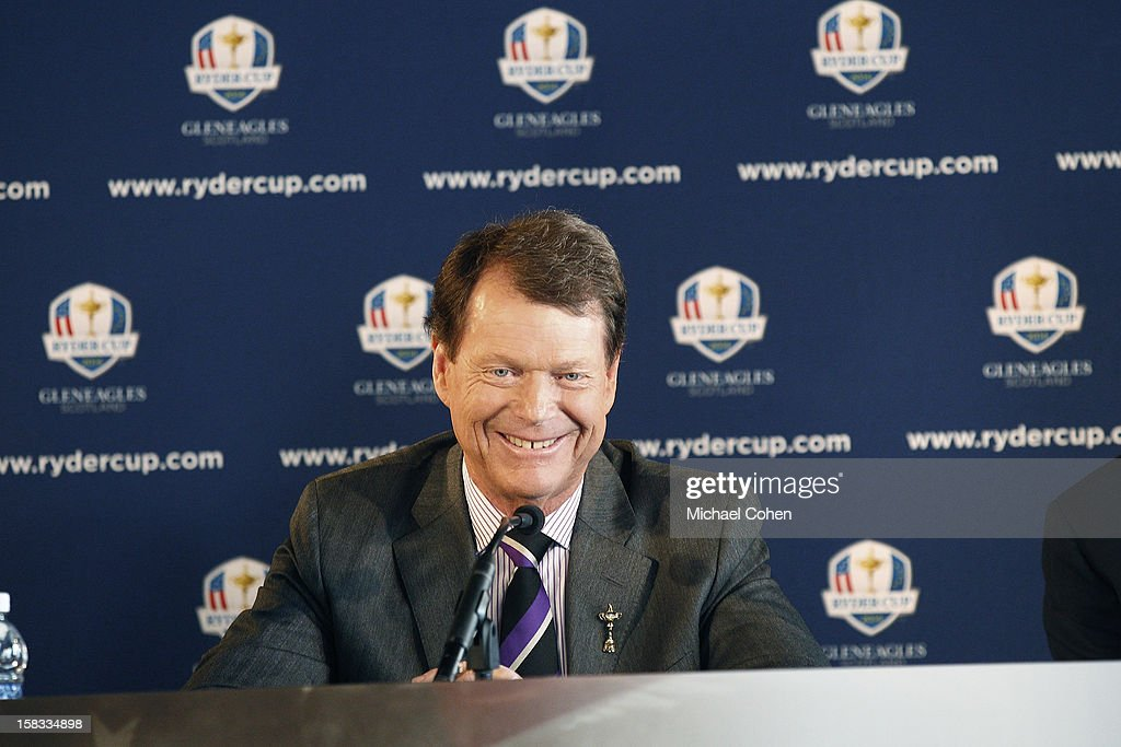 Tom Watson smiles after a question during the 2014 U.S. Ryder Cup Captain's News Conference held at the Empire State Building on December 13, 2012 in New York City.