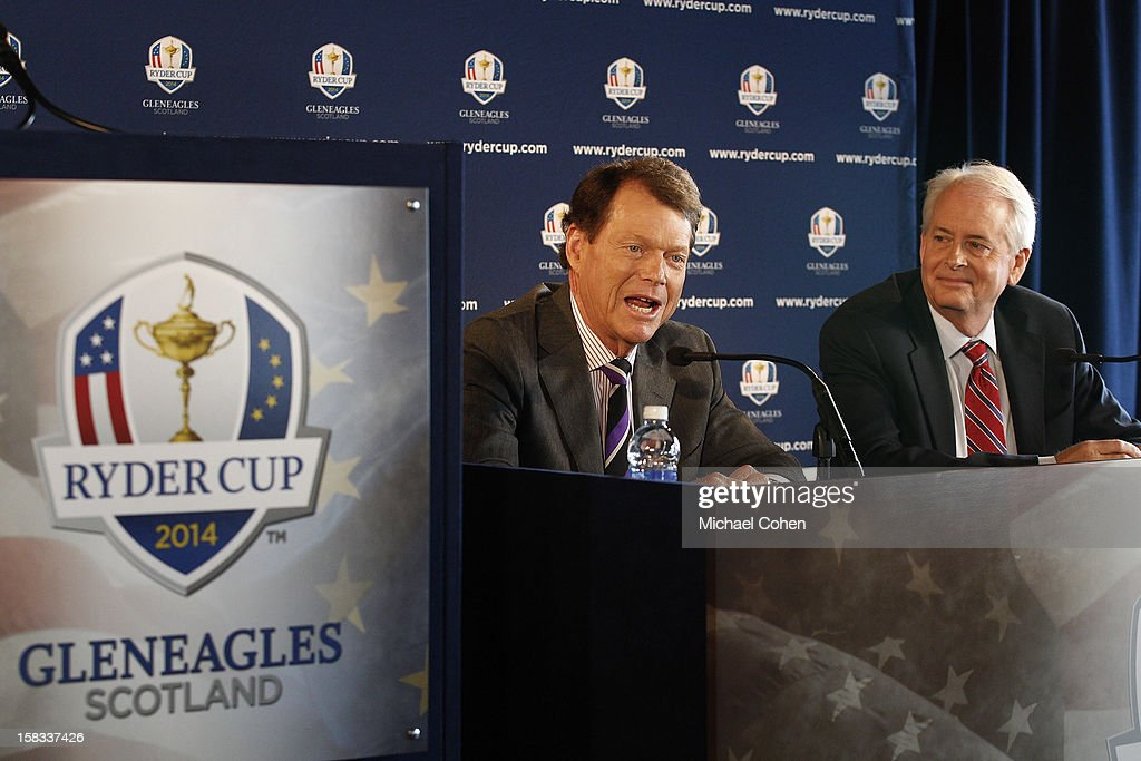 Tom Watson (L)speaks as Ted Bishop President of the PGA of America looks on during the 2014 U.S. Ryder Cup Captain's News Conference held at the Empire State Building on December 13, 2012 in New York City.