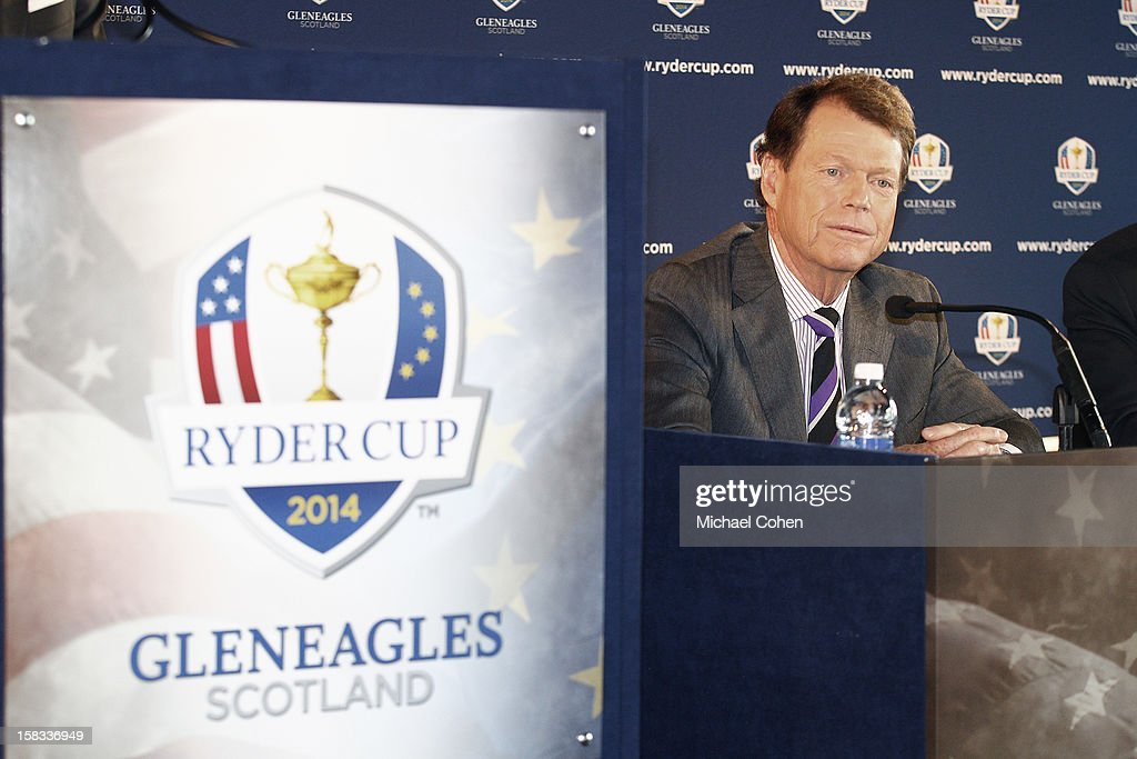Tom Watson speaks during the 2014 U.S. Ryder Cup Captain's News Conference held at the Empire State Building on December 13, 2012 in New York City.