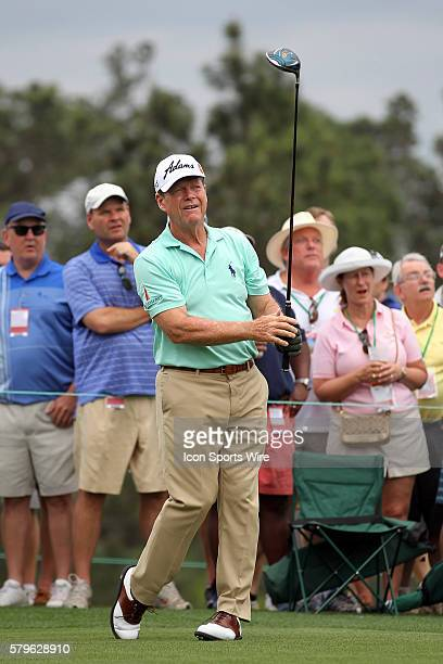 Tom Watson tees off during the 2015 Masters Tournament at the Augusta National Golf Club in Augusta Georgia