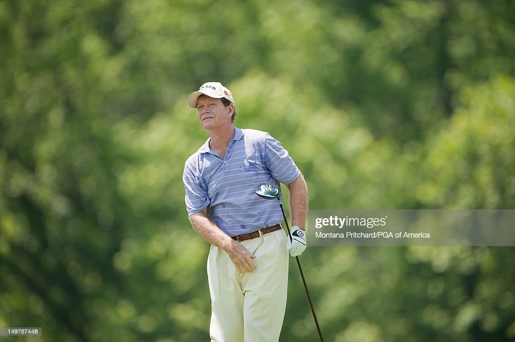 Tom Watson tees off on the fourth hole during the final round of play at the 72nd Senior PGA Championship Presented by KitchenAid at Valhalla Golf Club in Louisville, KY, USA, on Sunday, May 29, 2011.