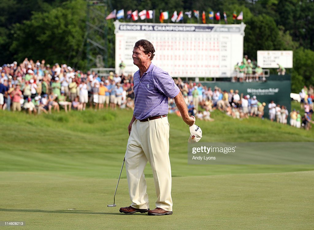 Tom Watson waves to the crowd after winning the Senior PGA Championship presented by KitchenAid in a one hole playoff at Valhalla Golf Club on May 29, 2011 in Louisville, Kentucky.