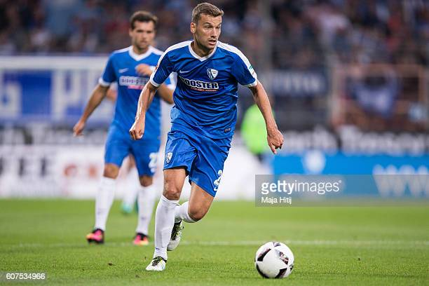 Tom Weilandt of Bochum plays the ball during the Second Bundesliga match between VfL Bochum 1848 and 1 FC Nuernberg at Vonovia Ruhrstadion on...