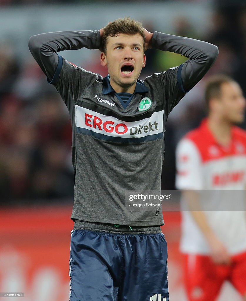 Tom Weilandt of Fuerth shouts after missing a chance to score during the 2nd Bundesliga match between 1. FC Koeln and Greuther Fuerth at RheinEnergieStadion on February 24, 2014 in Cologne, Germany.