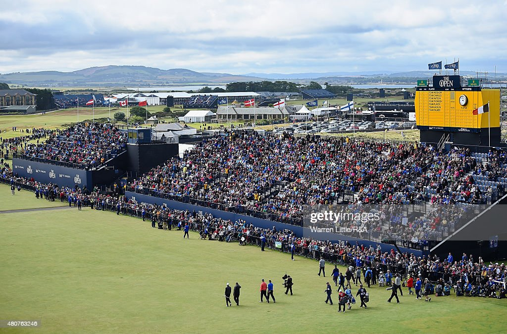 Tom Weiskopf, Mark O'Meara, Nick Price and Tiger Woods walk down the first fairway during the Champion Golfers' Challenge ahead of the 144th Open Championship at The Old Course on July 15, 2015 in St Andrews, Scotland.