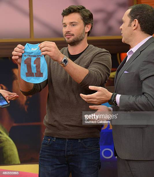 Tom Welling and Alan Tacher is on the set of Despierta America at Univision Headquarters on March 25 2014 in Miami Florida