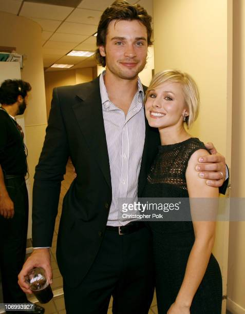 Tom Welling and Kristen Bell during CW Launch Party Inside at WB Main Lot in Burbank California United States