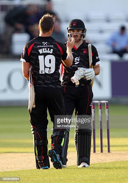 Tom Wells and Ben Raine celebrate after winning the matchduring The Natwest T20 Blast match between Durham Jets and Leicestershire Foxes at The...