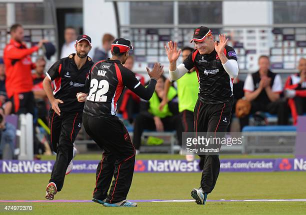 Tom Wells of Leicestershire Foxes celebrates catching out Ryan Pringle of Durham Jets during the NatWest T20 Blast match between Leicestershire Foxes...