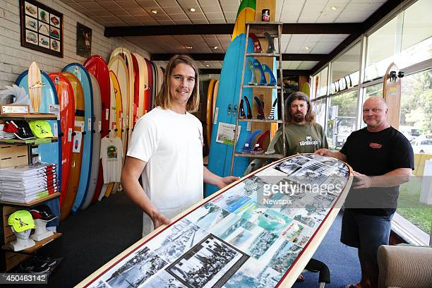 Tom Wentworth Ian Wallis and Greg Bennett who made a Long Board for US President Barack Obama at the request of Australian Prime Minister Tony Abbott...