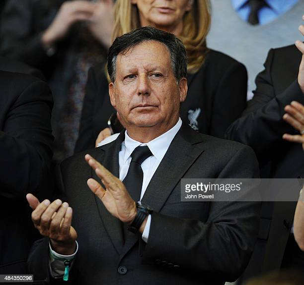 Tom Werner chairman of Liverpool watches from the directors box before the Barclays Premier League match between Liverpool and AFC Bournemouth on...