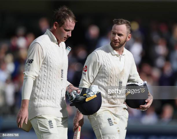 Tom Westley and Mark Stoneman of England see England to victory on day three of the 3rd Investec Test match between England and West Indies at Lord's...