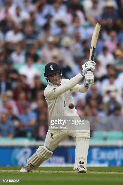 Tom Westley of England hits a boundary on his debut during Day One of the 3rd Investec Test between England and South Africa at The Kia Oval on July...