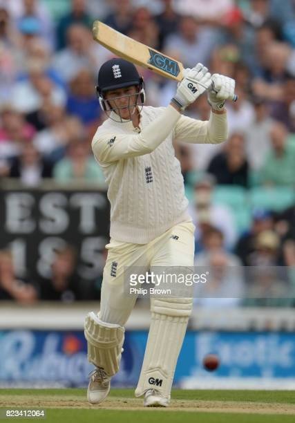 Tom Westley of England hits out during the first day of the 3rd Investec Test match between England and South Africa at the Kia Oval on July 27 2017...