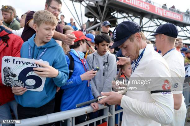 Tom Westley of England meets fans after winning the Investec Test series between England and South Africa at Old Trafford on August 7 2017 in...
