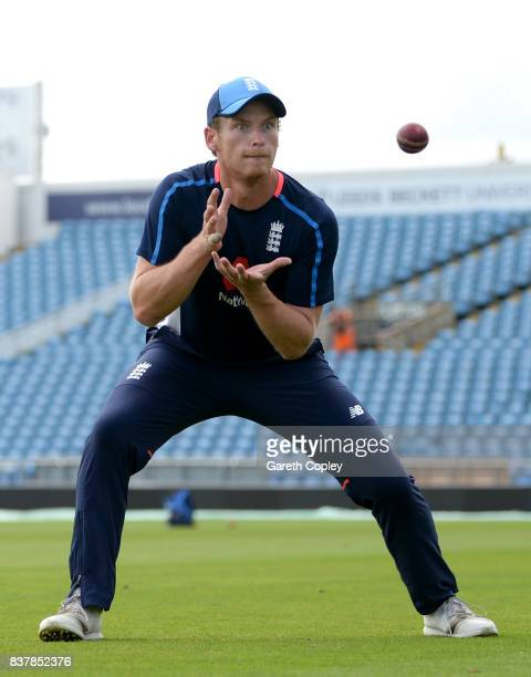 Tom Westley of England takes part in a fielding drill during a nets session at Headingley on August 23 2017 in Leeds England