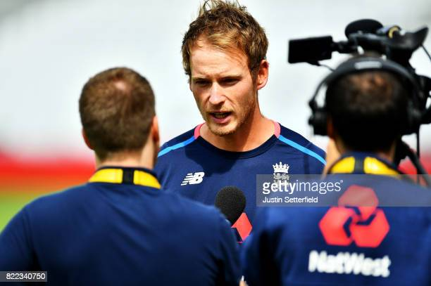 Tom Westley of England talks to media during practice ahead of the 3rd Investec Test between England and South Africa at The Kia Oval on July 25 2017...