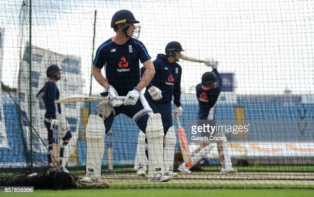 Tom Westley of England waits to bat during a nets session at Headingley on August 23 2017 in Leeds England