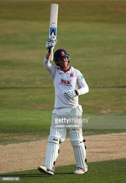 Tom Westley of Essex celebrates his 200 during day two of the Specsavers County Championship Division Two match between Essex and Worcestershire at...