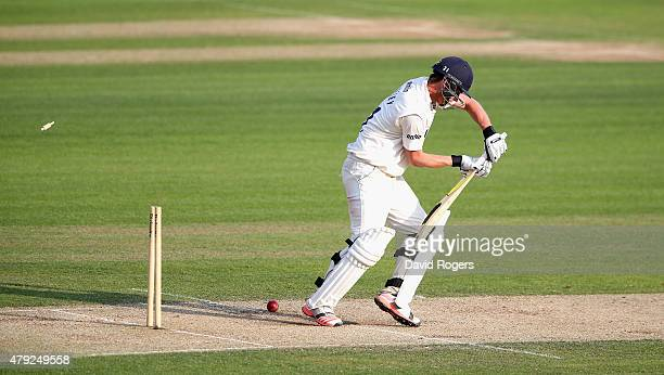 Tom Westley of Essex is bowled by Mitchell Starc for 144 runs during day two of the tour match between Essex and Australia at The Ford County Ground...