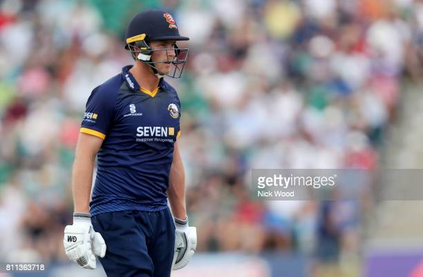 Tom Westley of Essex leaves the field having lost his wicket during the Kent Spitfires v Essex Eagles NatWest T20 Blast cricket match at the County...