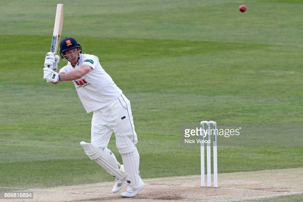 Tom Westley of Essex lofts the ball towards the boudary whilst batting for Essex at Cloudfm County Ground on April 10 2017 in Chelmsford England