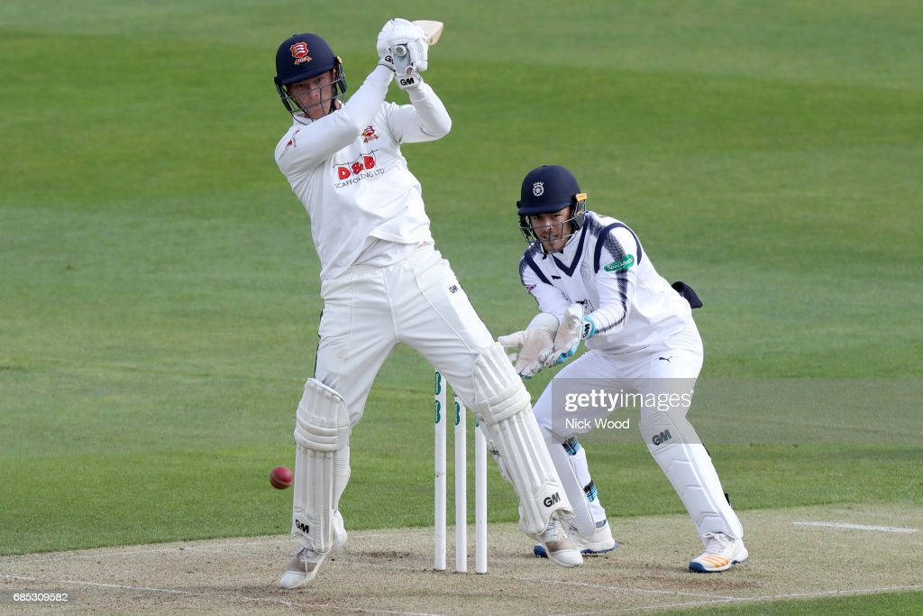 Tom Westley of Essex plays an attacking stroke during the Essex v Hampshire - Specsavers County Championship: Division One cricket match at the Cloudfm County Ground on May 19, 2017 in Chelmsford, England.