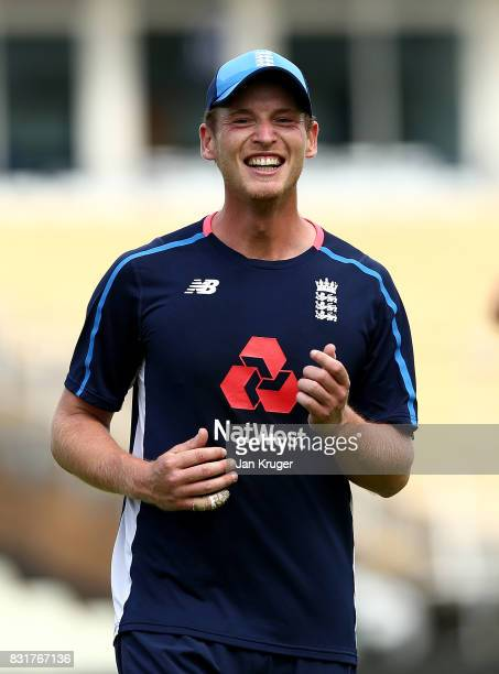 Tom Westley takes part in a fielding drill during a nets session at Edgbaston on August 15 2017 in Birmingham England