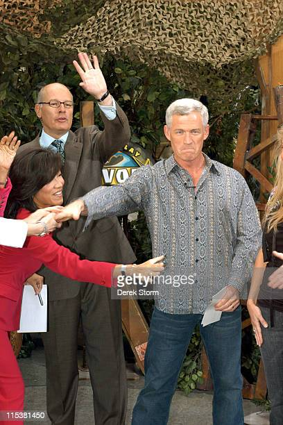 Tom Westman with Harry Smith during 'Survivor' Winner Tom Weston and the Cast of 'Everybody Loves Raymond' Visit 'The Early Show' May 16 2005 at CBS...